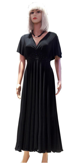 LONG WHEEL DRESS IN ELASTIC JERSEY WITH SLEEVES AND RHINESTONES ON THE WAIST 4-0118