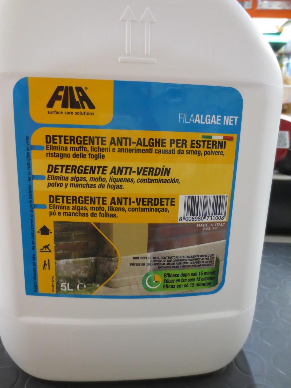 Detergente Per Cotto Esterno fila algae net tanica 5 litri - elimina alghe, muschi e licheni da pareti e  pavimenti fila noalghe 5 litri