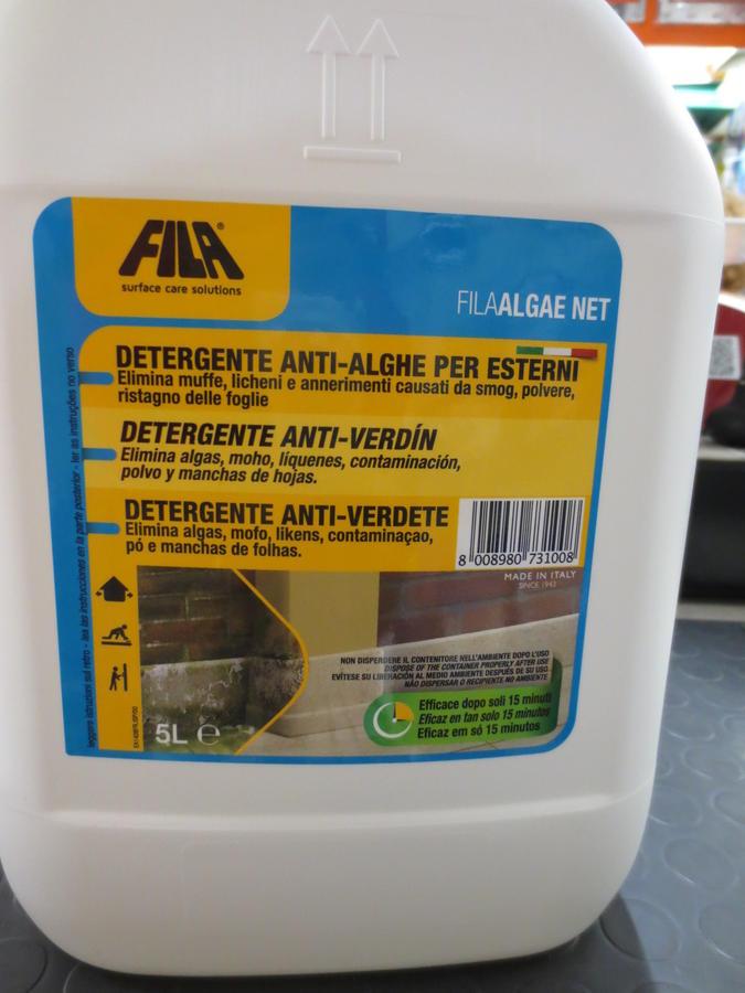FILA ALGAE NET  tanica 5 litri - Elimina Alghe, Muschi e Licheni da Pareti e Pavimenti  Fila Noalghe 5 litri