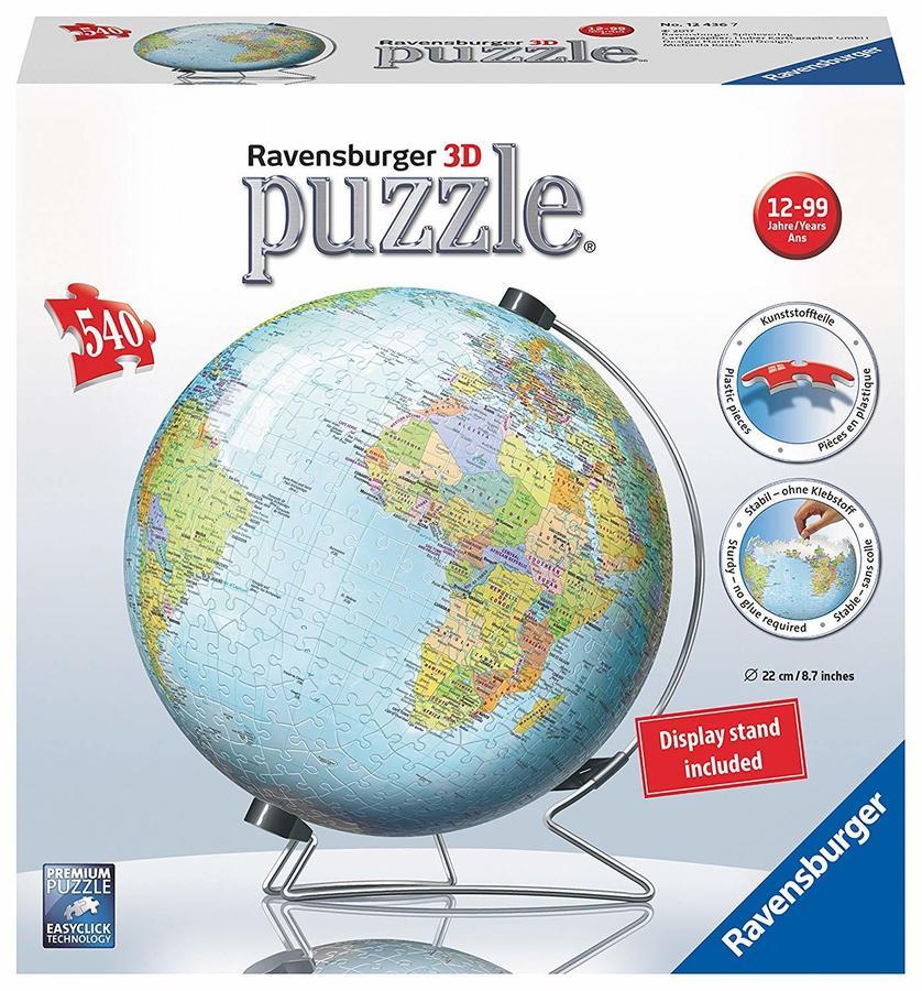 Mappamondo Puzzle 3D Ravensburgher 540 Pezzi, Multicolore 124367