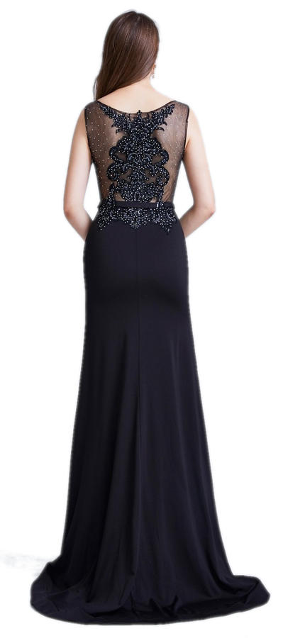 0537 PRINCESS DRESS WITH TAIL IN BLACK CREPE WITH NUDE LOOK BODY
