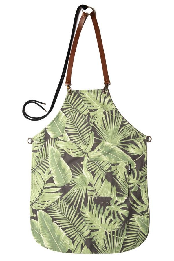 JUNGLE Grembiule in tela gabardine stampata con motivi verdi jungla