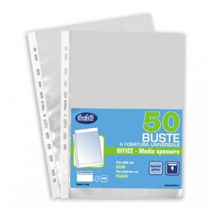 50 BUSTE FORATURA UNIVERSALE MEDIE GOFFRATE ANTIRIFLESSO - Buffetti 7076G0950