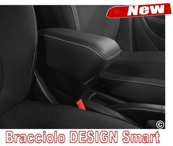 Armrest DESIGN for Smart ForTwo - ForFour New in black Eco leather with white stitching