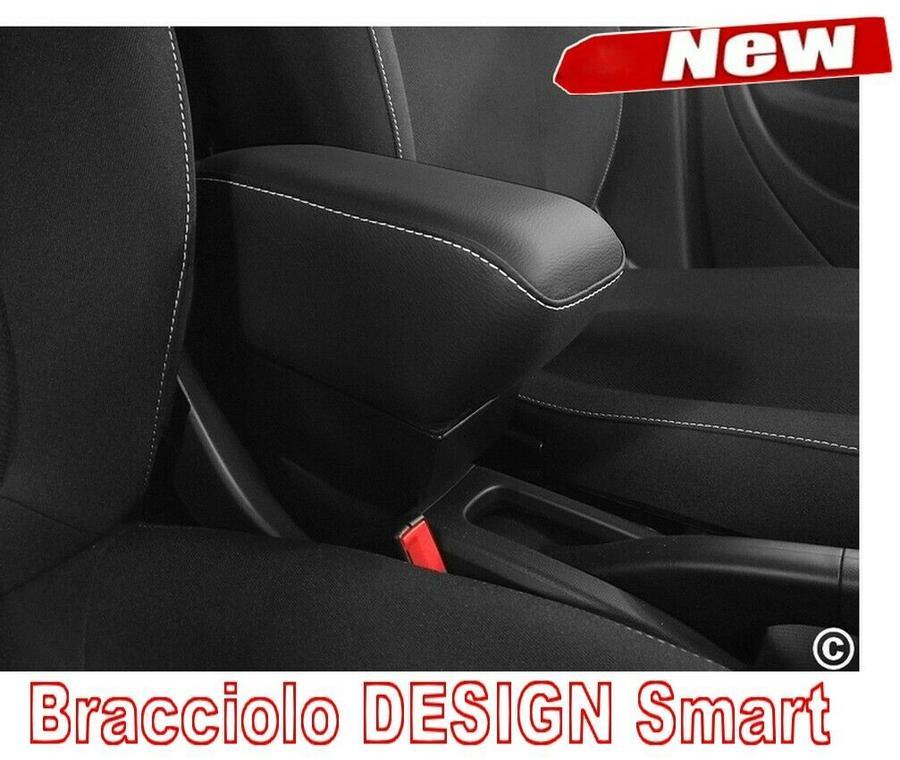 Accoudoir DESIGN pour Smart ForTwo - ForFour New en similicuir noir avec coutures blanches