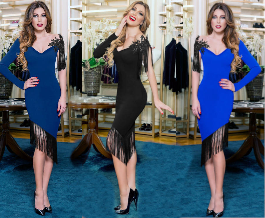 0542 SINGLE-SLEEVED ASYMMETRIC TUBE DRESS WITH FRINGES