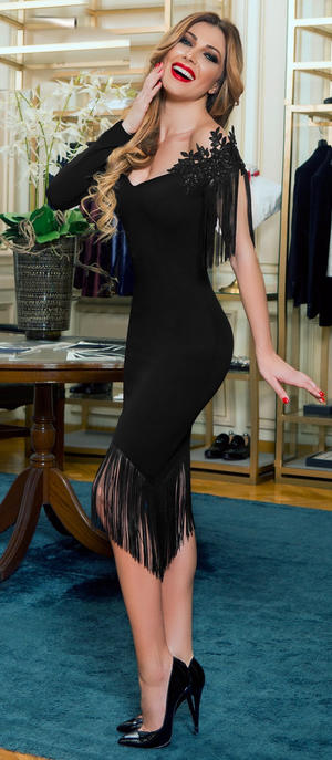 0543 SINGLE-SLEEVED ASYMMETRIC TUBE DRESS WITH FRINGES
