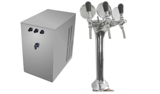Erogatore professionale acqua fredda,frizzante e ambiente Mf 60 Sottobanco per ristoranti,trattorie e alberghi con Colonna Cromata.