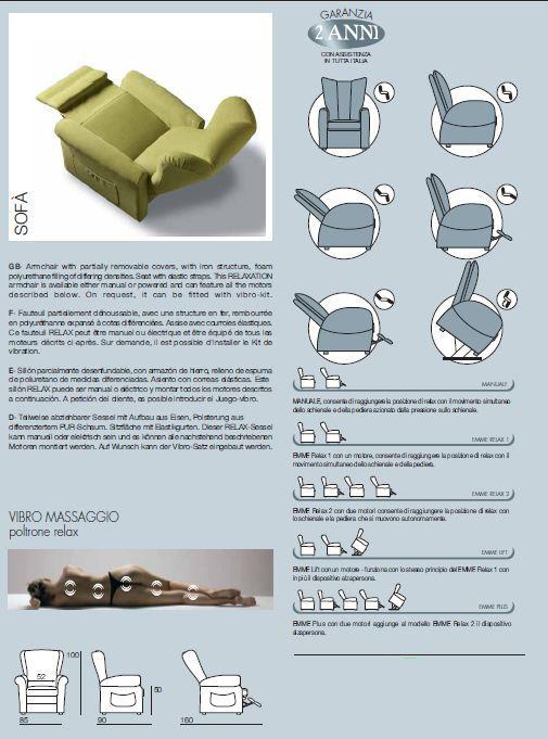 Poltrona Relax Elettrica con 2 Motori e Alzapersona Sfoderabile  Mod. Grazia IVA Agevolata 4% Prodotto Italiano