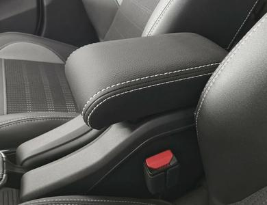 Adjustable armrest for Peugeot 2008 with double white stitching and rear hinge covered