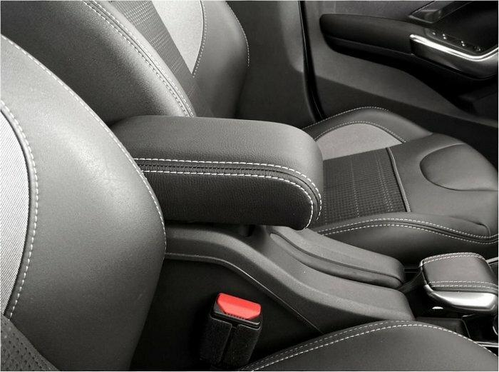 Adjustable armrest for Peugeot 2008 (2013-2019) with double white stitching and rear hinge covered