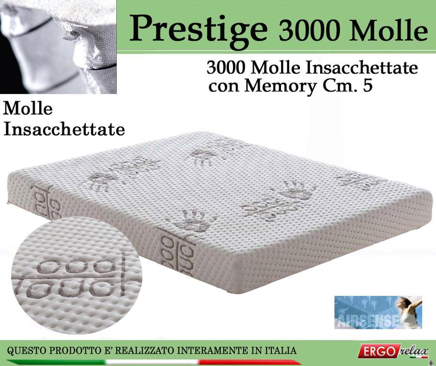 Materasso Molle Insacchettate Mod Prestige 3000 Molle Climatizzato  con Memory Cm 5 da Cm 120x190/195/200 -Ergorelax