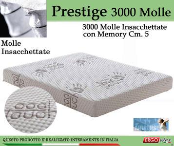 Materasso Molle Insacchettate Mod Prestige 3000 Molle Climatizzato  con Memory Cm 5 da Cm 175x190/195/200 -Ergorelax