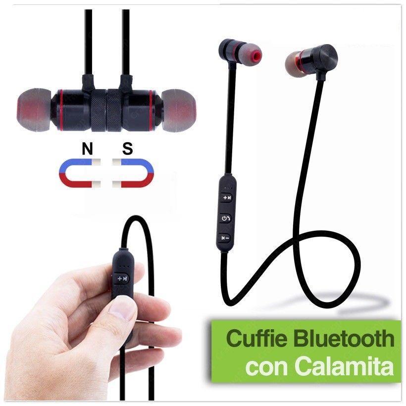Auricolari Cuffie wireless Bluetooth 4.1 stereo Microfono Smartphone Calamita