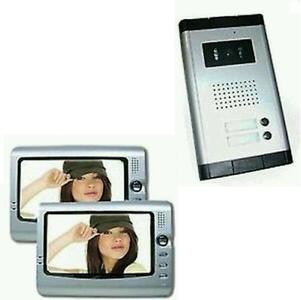 KIT VIDEOCITOFONO BIFAMILIARE TELECAMERA 2 MONITOR 7' POLLICI CAMPANELLO