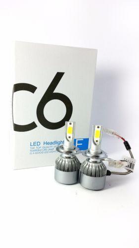 COPPIA LAMPADA LAMPADE AUTO MOTO COB C6 H7 LED 3800LM 36W 6000K BIANCO FREDDO