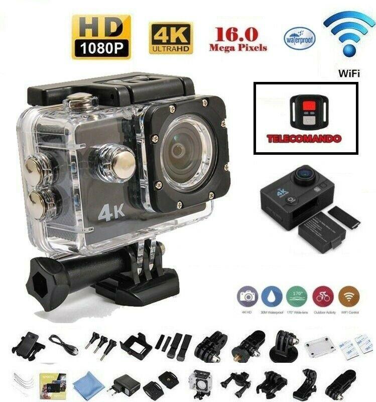 PRO CAM SPORT ACTION 4K WIFI CON TELECOMANDO CAMERA ULTRA HD 16MP VIDEOCAMERA