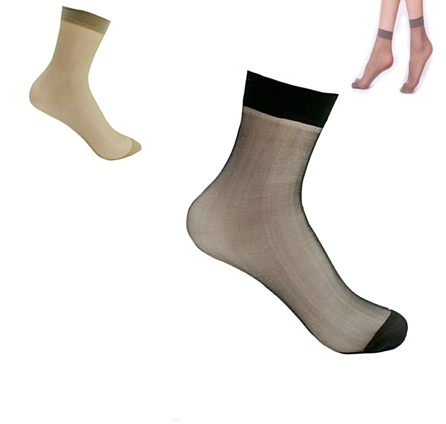 GAMBALETTI DONNA TAGLIA UNICA NERO BEIGE calzini corti calze velati no stress