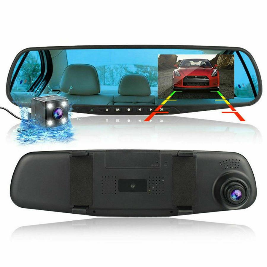 SPECCHIETTO CON MONITOR DVR RETROMARCIA 2 TELECAMERE RETROVISORE 4 LED AUTO SUV