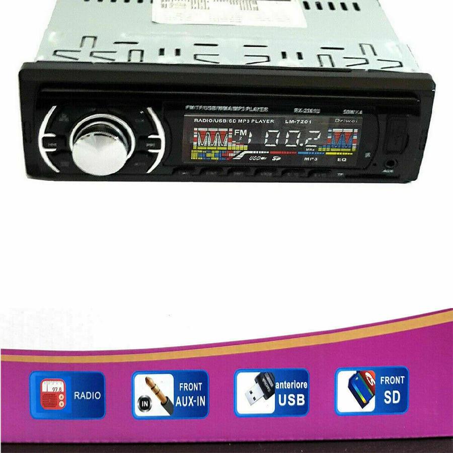 AUTORADIO STEREO AUTO FM 4X50W MP3 USB SD CARD AUX INGRESSO RADIO 6201