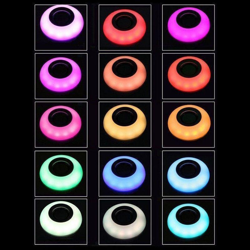 LAMPADINA RGB MUSICA BLUETOOTH LAMPADA LED LUCE CASSA SPEAKER BULBO E27 12W