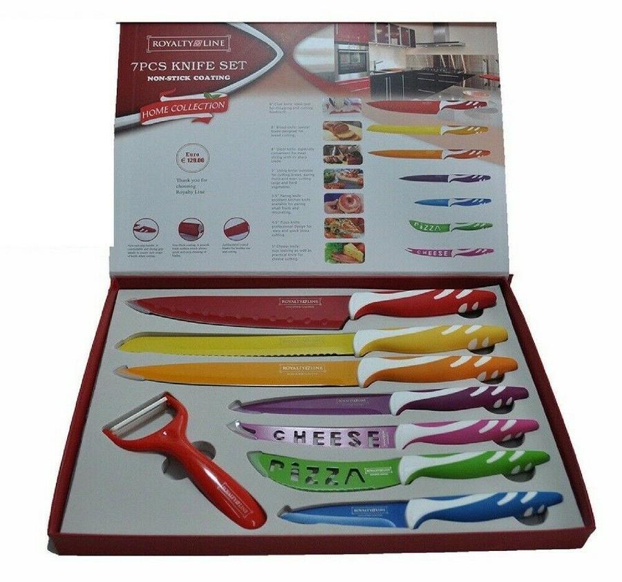 Set Coltelli ROYALTY LINE Professionali Cucina Colorati Ceramica Acciaio Inox