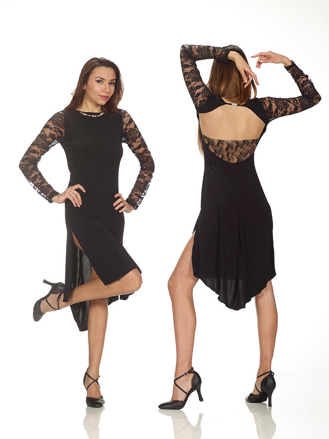 TANGO DRESS WITH SPLIT IN ELASTIC JERSEY AND BLACK LACE 4-0119