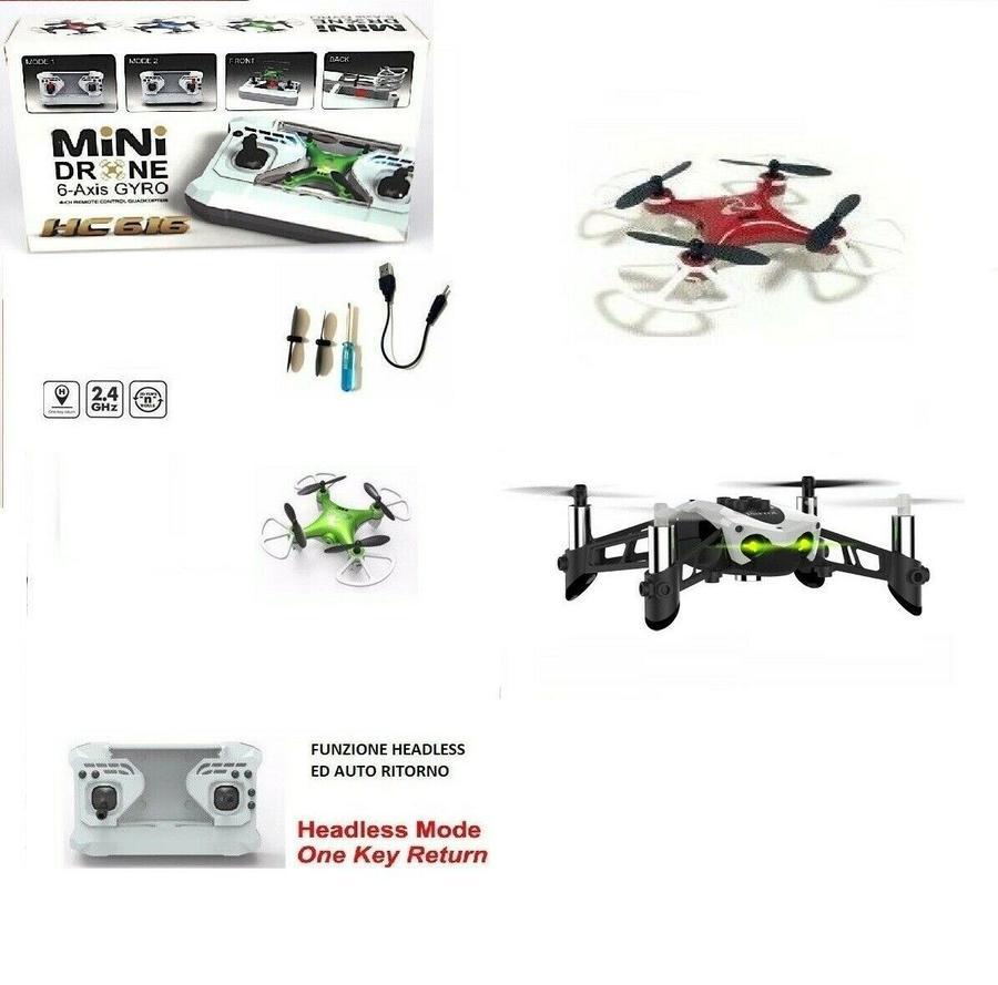 MINI DRONE QUADRICOTTERO PORTATILE RADIOCOMANDATO RICARICABILE USB GIOCHI