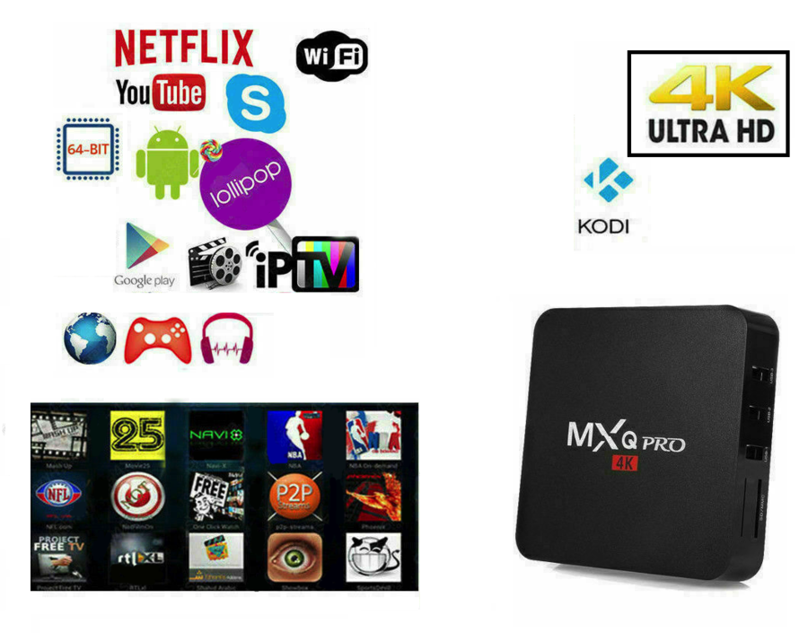 TV BOX ANDROID IPTV 4K 4GB RAM 32 Rom WIFI MXQ PRO SMART DECODER FULL HD 1080P