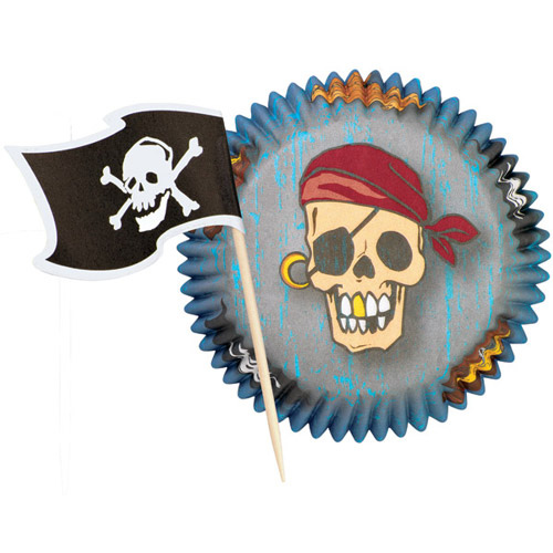 set 24 pirottini muffin  con 24 pick pirati Wilton