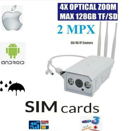 TELECAMERA IP 4G 3G GSM WIRELESS CAM 2 MPX SIM WIFI CLOUD SD ONVIF ZOOM CAMERA