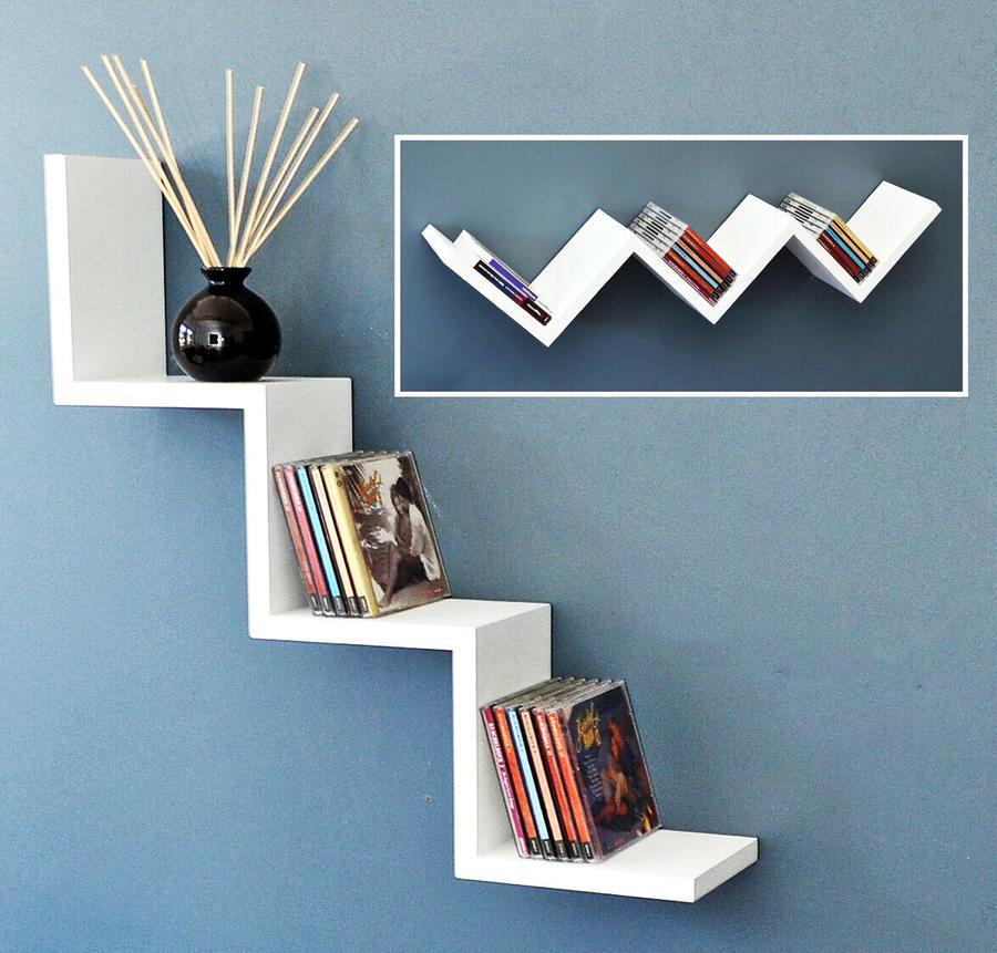 Mensole da parete Moderne forma zig zag Design in legno bianco 59x12cm