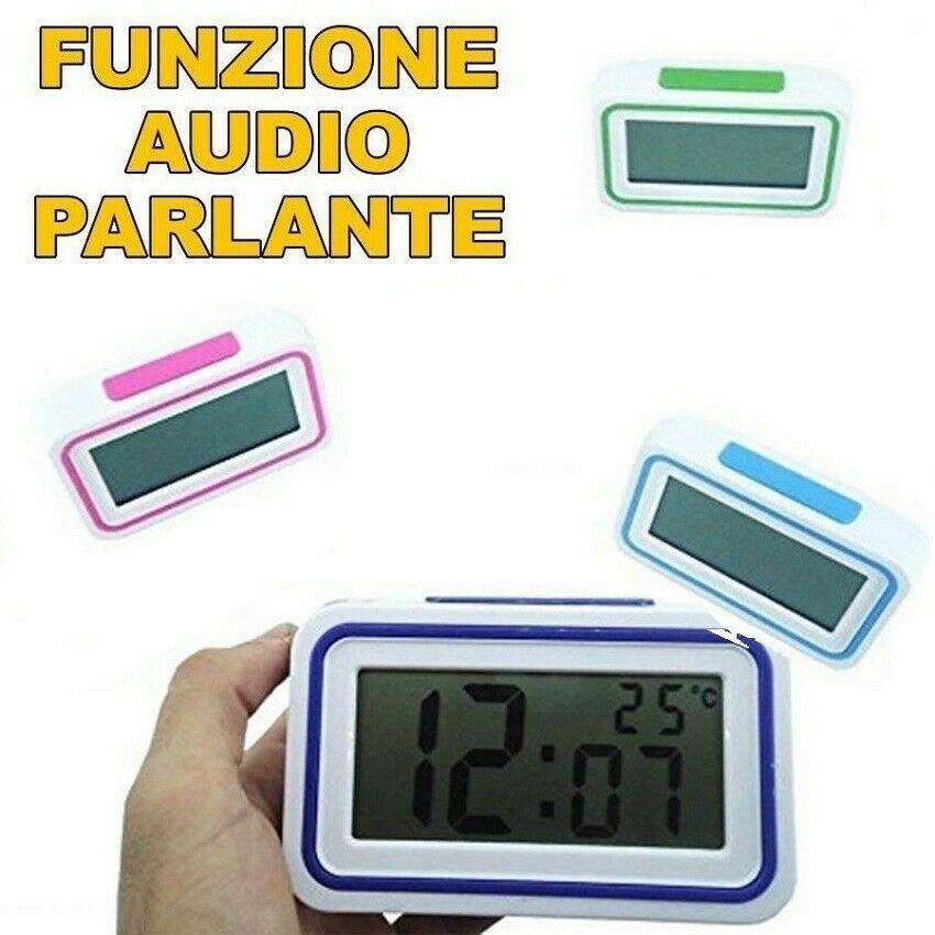 SVEGLIA DIGITALE CON AUDIO PARLANTE ITALIANO OROLOGIO PER IPOVEDENTI COLORATA