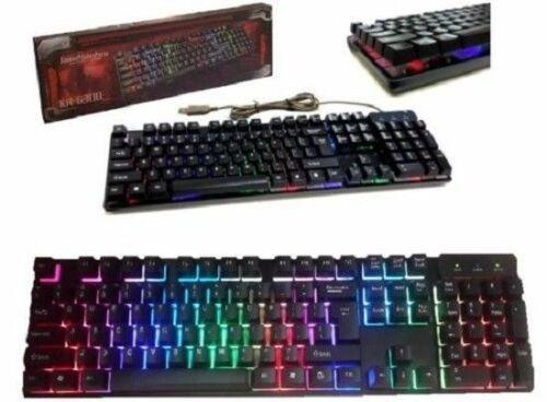 TASTIERA GAMING LED KEYBOARD RETRO ILLUMINATA MULTICOLOR RGB PC COMPUTER
