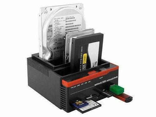 DOCKING STATION MULTIFUNZIONE 3 USB 2.0 TRIPLO HARD DISK SATA IDE CARD SD