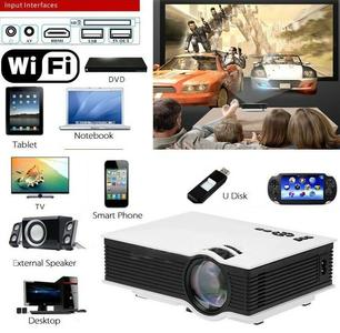 VIDEO PROIETTORE LED 1200 LUM HD1080P WIFI HDMI USB VGA SD AV TV
