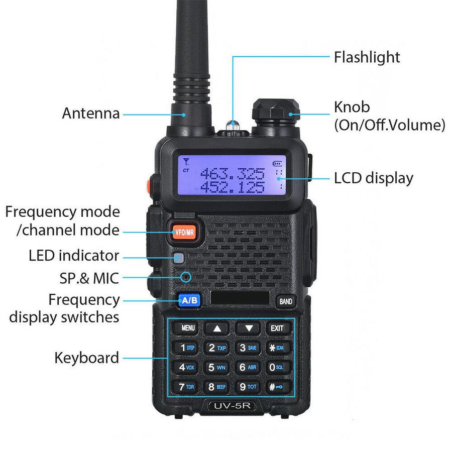 Radio Dual Band 136-174 400-520 Mhz RICETRASMITTENTE BAOFENG VHF/UHF UV-5R