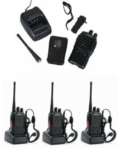 3 RICETRASMITTENTI WALKIE TALKIE BAOFENG CON CUFFIE RADIO 400 - 470MHz UHF