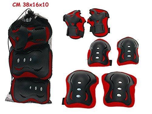 Protezioni bambino skatebord e bici - Teorema 5158 Taglia L - Rosso Nero