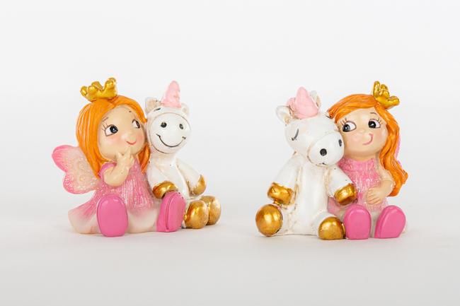 Fatina e unicorno statuina in due modelli assortiti, linea Cuordincanto