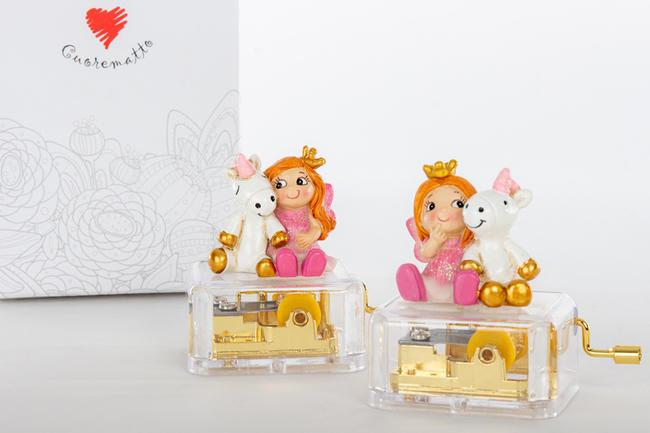 Fatina e unicorno carillon in due modelli assortiti, linea Cuordincanto