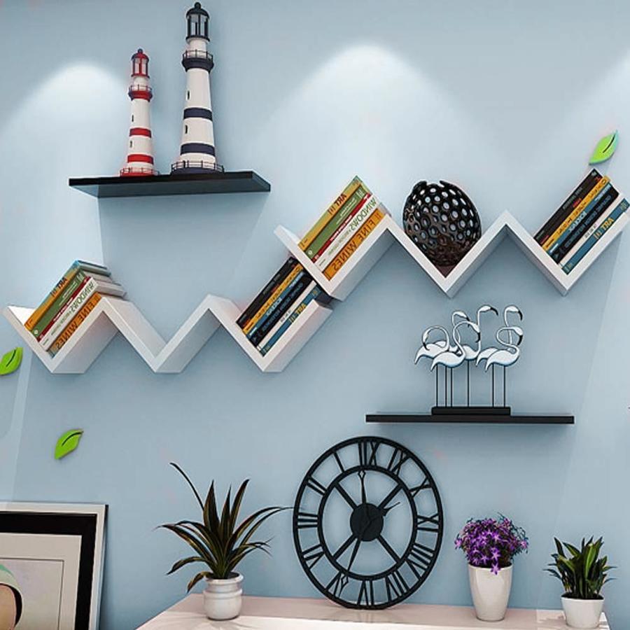 Mensole da parete Moderne forma zig zag Design in legno bianco 59x12cm Bianca Nera Noce Grigio