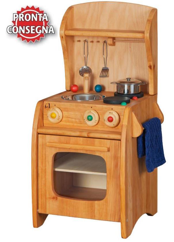 Fornelli con lavello in Legno Massello completo di Scaffale e portasalviette - Offerta