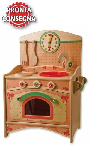 Trio Cucina Compatta (Lavello, Fornelli, Forno) Fiocco in Legno Naturale per Bambini di Dida - Offerta