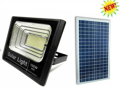 FARO FARETTO ENERGIA CREPUSCOLARE 100W LED SMD CON PANNELLO SOLARE RICARICABILE