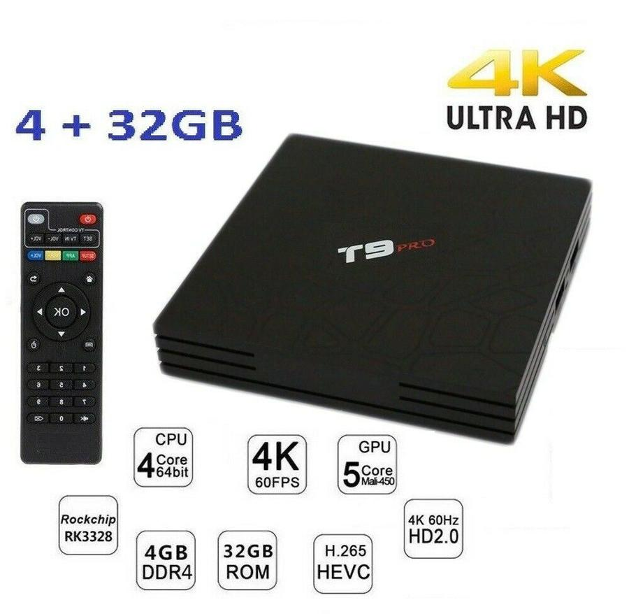 TV BOX T9 PRO 4K IPTV GPU 5 CORE QUAD WIFI ANDROID 7.1 4GB RAM 32GB SMART TV