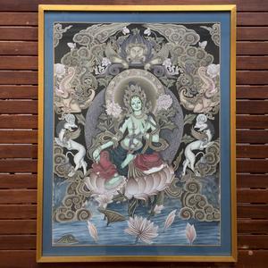 Thangka - Divinità Tara Verde - 81x61 cm incorniciato