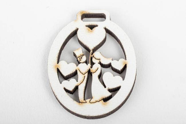 Set 12 chiudipacco sposi legno,  linea Cuor di Principe
