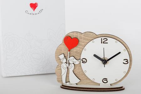 Orologio tavolo 14x11 coppia sposi,  linea Cuor di Principe