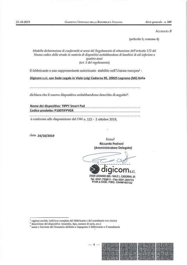 TIPPY CUSCINO AUTO BAMBINI ANTIABBANDONO